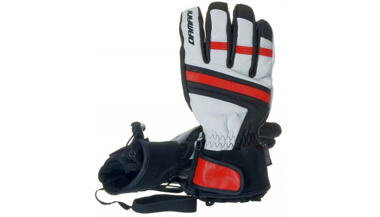 Lyžařské rukavice Damani R03 celokožené červené
