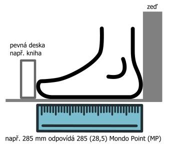 Měření velikosti chodidla